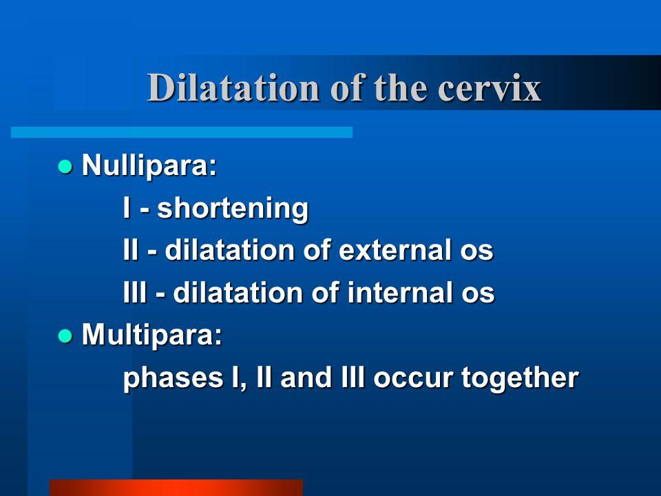 Dilatation of the cervix Nullipara: Nullipara: I - shortening II - dilatation of external os III - dilatation of internal os Multipara: Multipara: pha