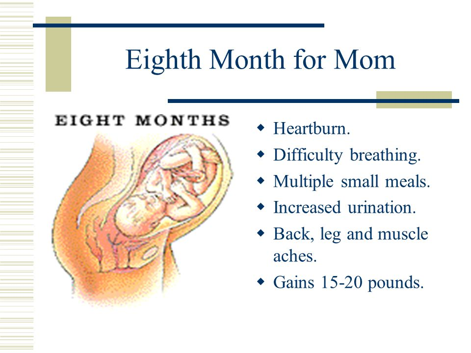 Eighth Month for Mom  Heartburn. Difficulty breathing.