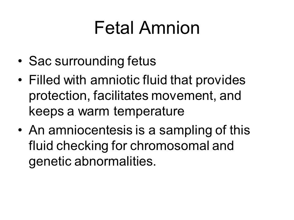 Fetal Amnion Sac surrounding fetus Filled with amniotic fluid that provides protection, facilitates movement, and keeps a warm temperature An amniocen