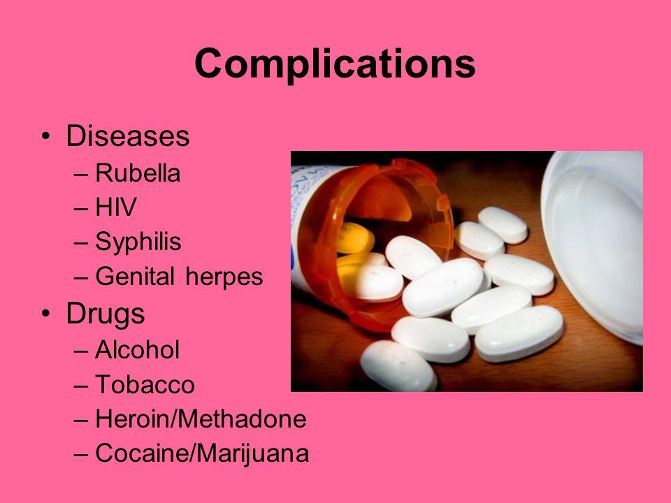 Complications Diseases –Rubella –HIV –Syphilis –Genital herpes Drugs –Alcohol –Tobacco –Heroin/Methadone –Cocaine/Marijuana