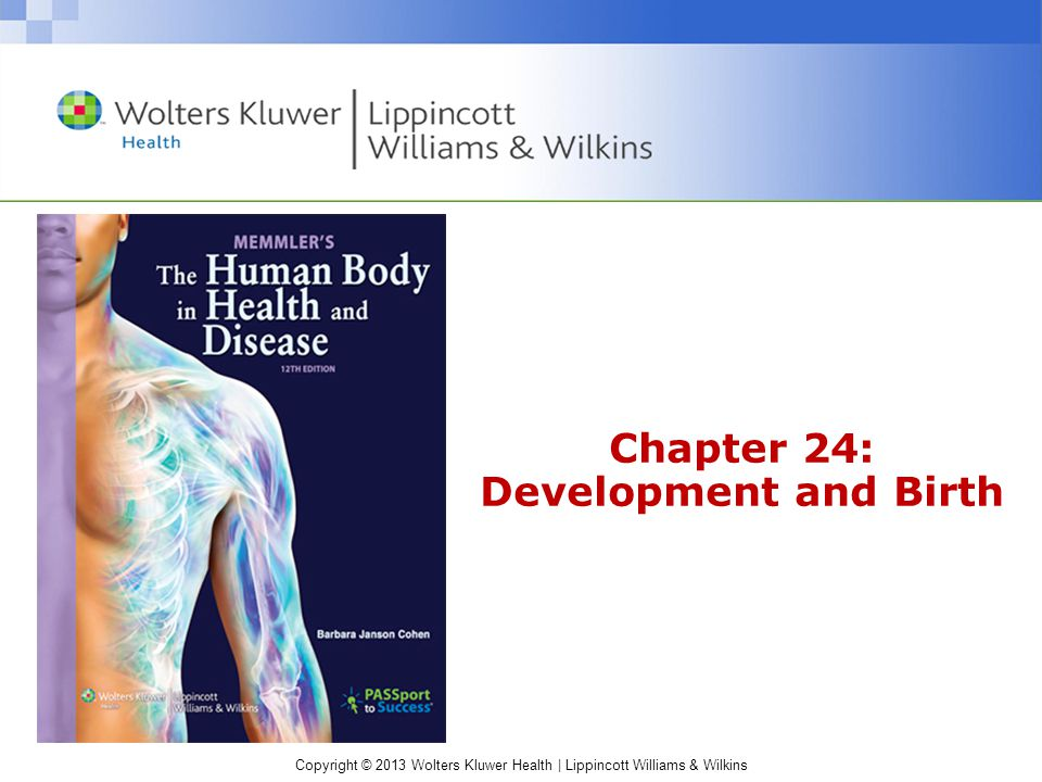 Copyright © 2013 Wolters Kluwer Health | Lippincott Williams & Wilkins Cohen: Memmler's The Human Body in Health and Disease Pregnancy Outcomes Live birth –Immature (premature) infant Loss of fetus –Abortion –Fetal death –Stillbirth