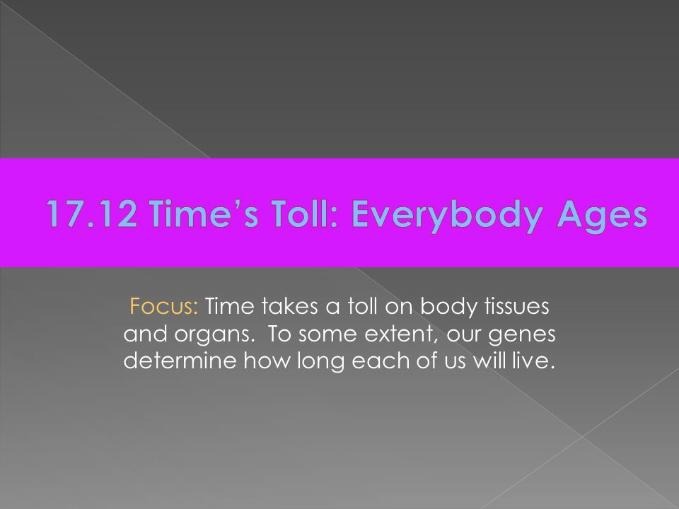 Focus: Time takes a toll on body tissues and organs.