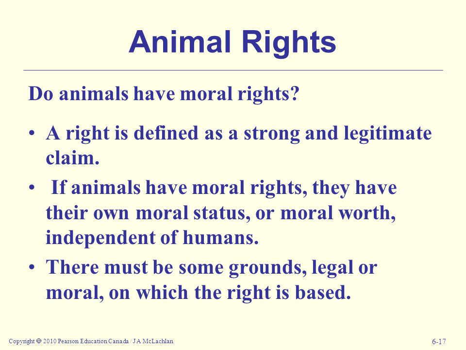 Copyright  2010 Pearson Education Canada / J A McLachlan 6-17 Animal Rights Do animals have moral rights.