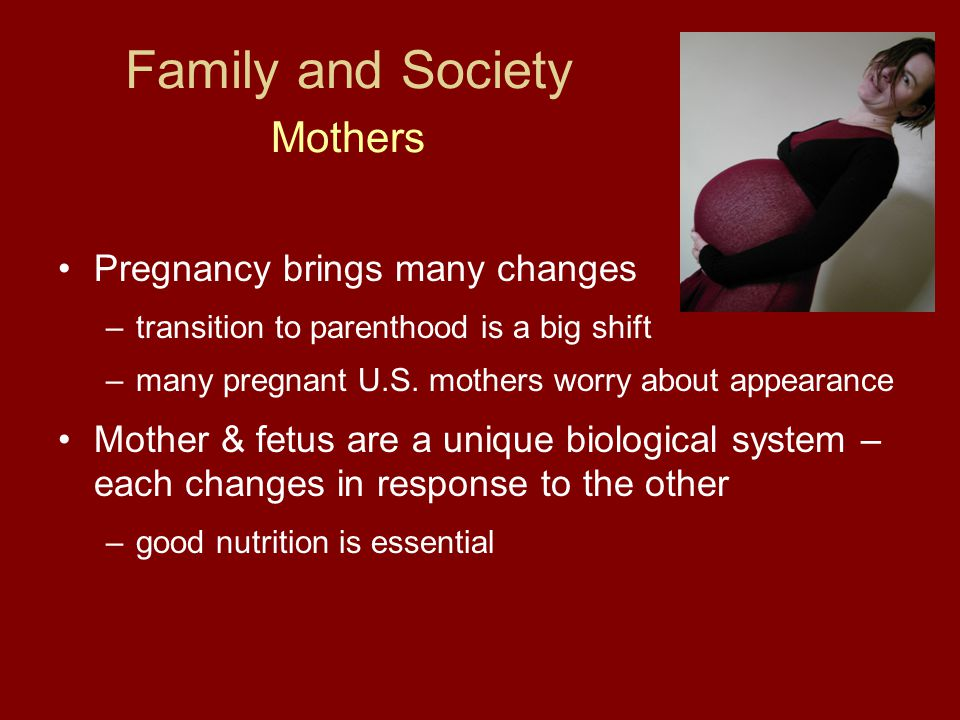 Family and Society Mothers Pregnancy brings many changes –transition to parenthood is a big shift –many pregnant U.S. mothers worry about appearance M
