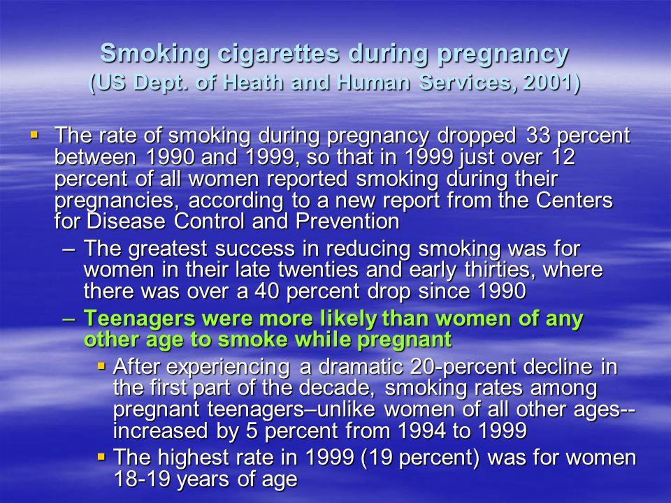 Smoking cigarettes during pregnancy (US Dept.