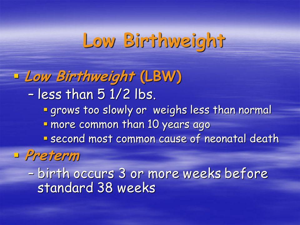 Low Birthweight  Low Birthweight (LBW) –less than 5 1/2 lbs.