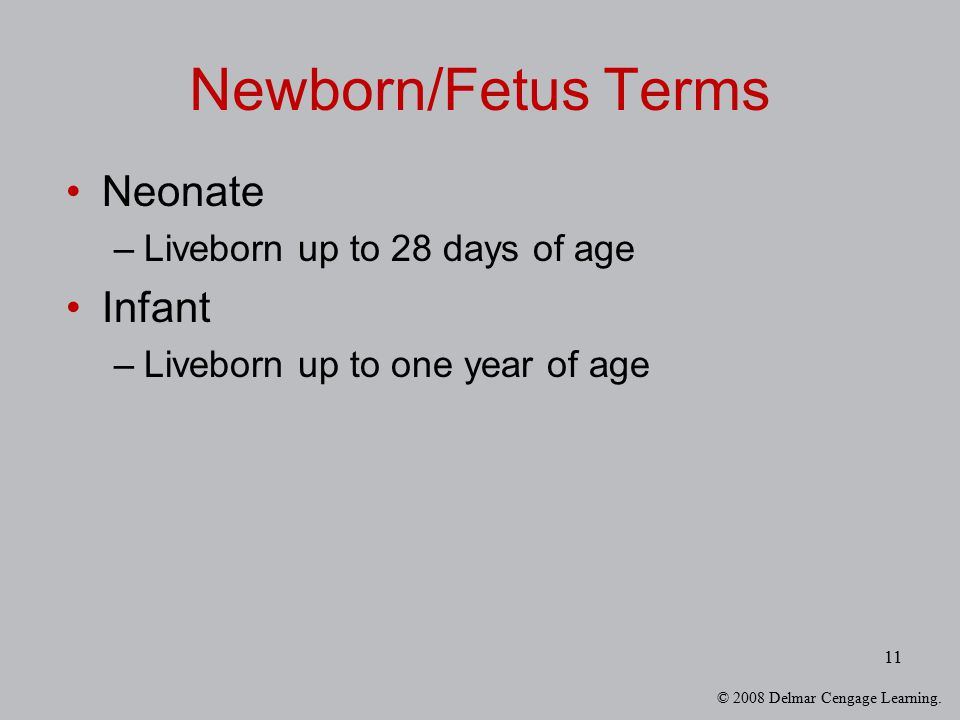 © 2008 Delmar Cengage Learning. 11 Newborn/Fetus Terms Neonate –Liveborn up to 28 days of age Infant –Liveborn up to one year of age