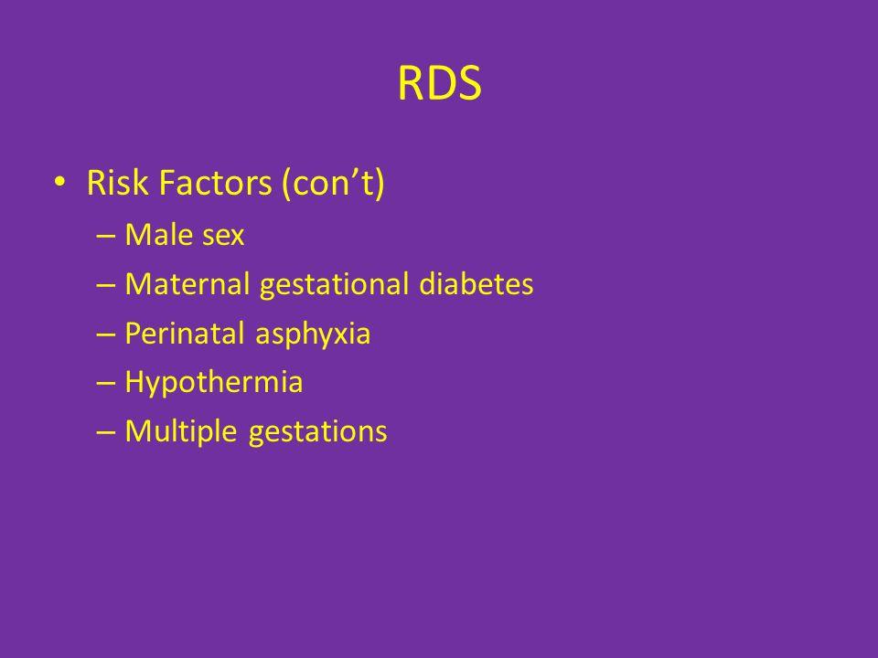 RDS Risk Factors (con't) – Male sex – Maternal gestational diabetes – Perinatal asphyxia – Hypothermia – Multiple gestations