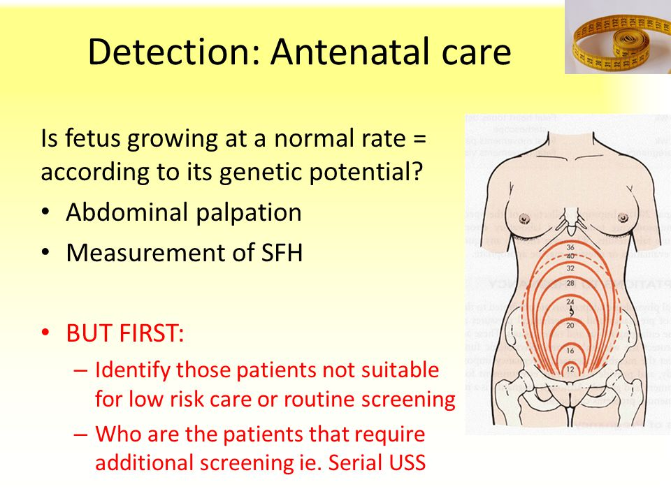 Detection: Antenatal care Is fetus growing at a normal rate = according to its genetic potential? Abdominal palpation Measurement of SFH BUT FIRST: –