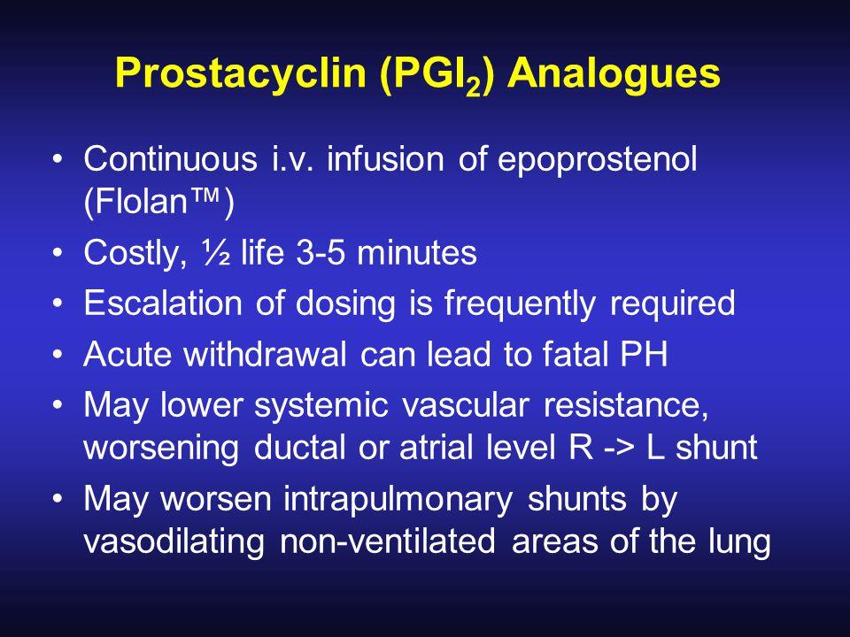 Prostacyclin (PGI 2 ) Analogues Continuous i.v.