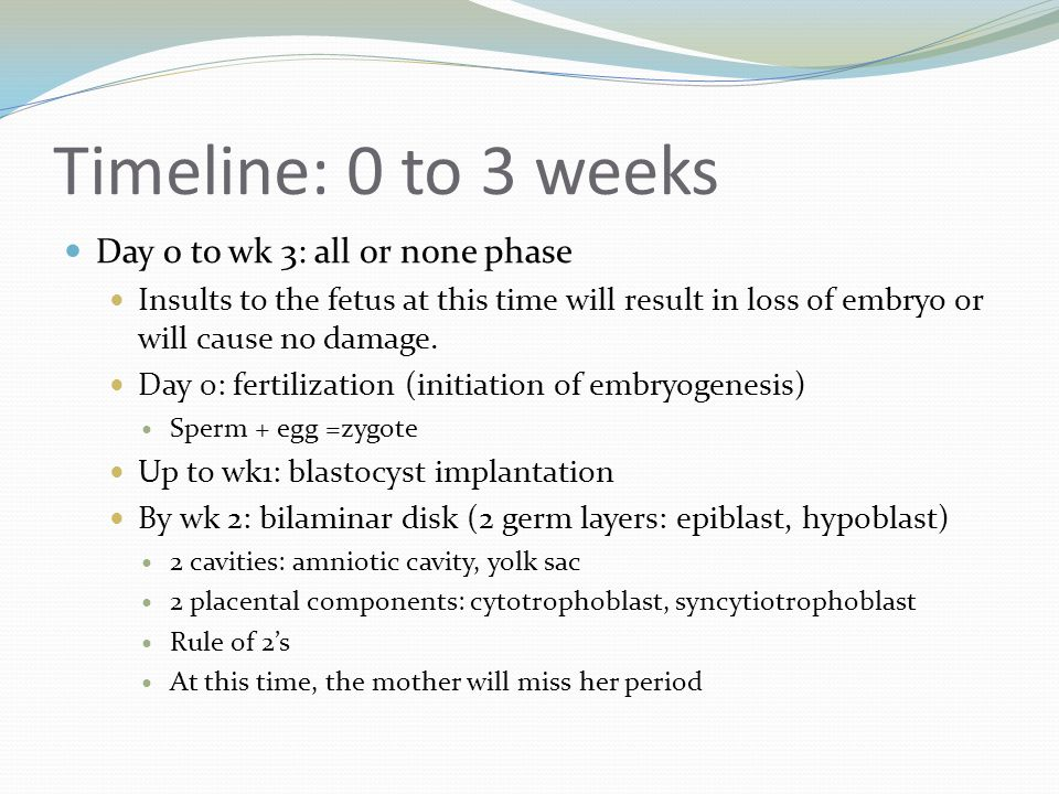 Timeline: 0 to 3 weeks Day 0 to wk 3: all or none phase Insults to the fetus at this time will result in loss of embryo or will cause no damage. Day 0