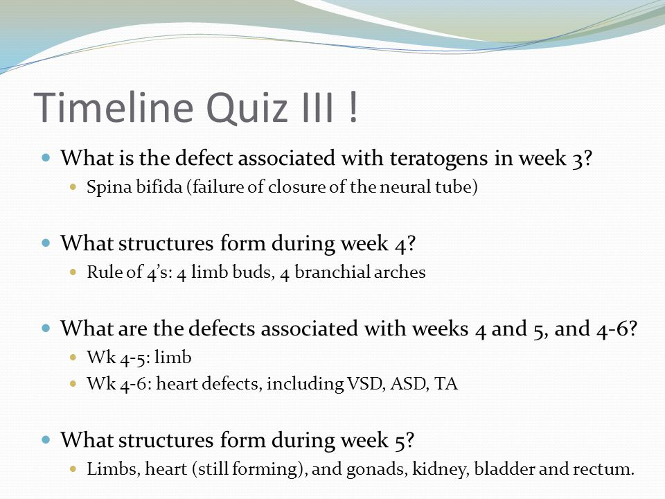 Timeline Quiz IV .What defect is associated with week 5.