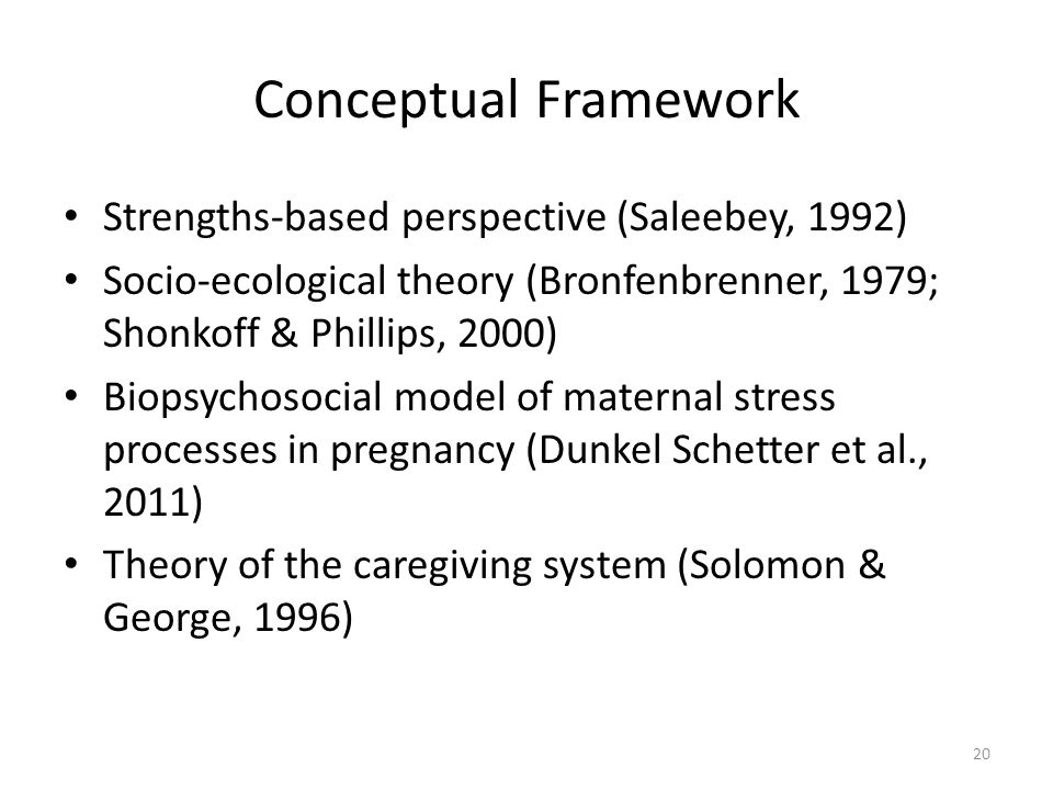 Conceptual Framework Strengths-based perspective (Saleebey, 1992) Socio-ecological theory (Bronfenbrenner, 1979; Shonkoff & Phillips, 2000) Biopsychosocial model of maternal stress processes in pregnancy (Dunkel Schetter et al., 2011) Theory of the caregiving system (Solomon & George, 1996) 20