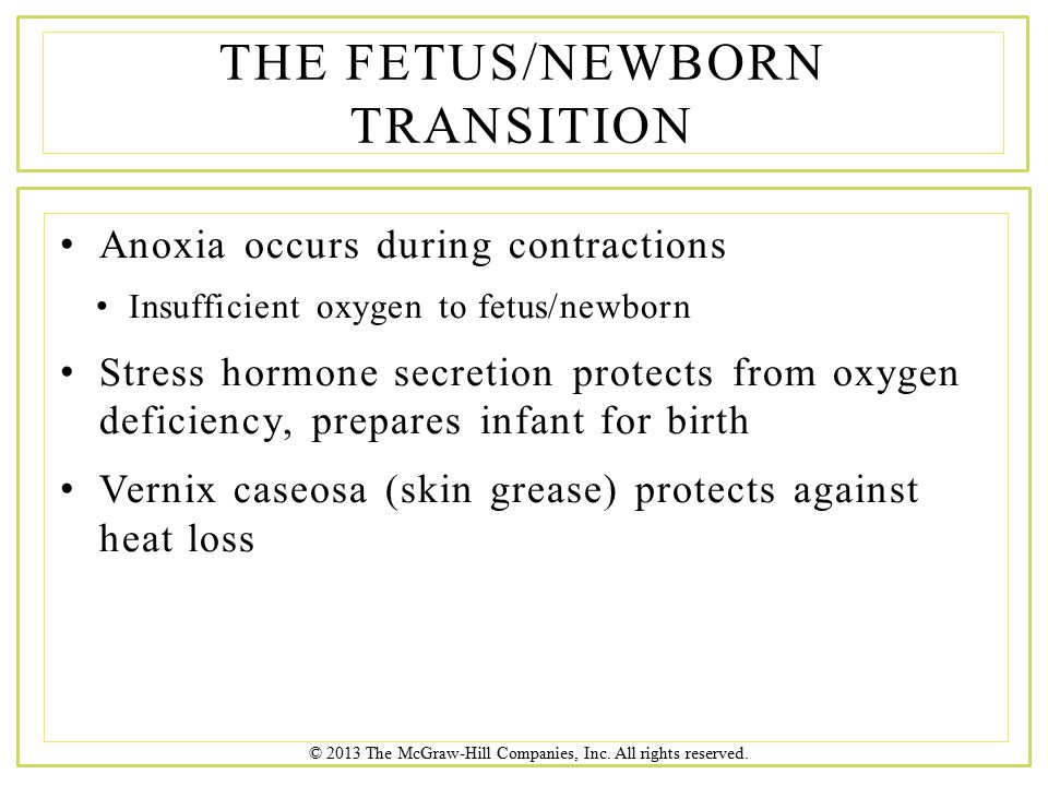 © 2013 The McGraw-Hill Companies, Inc. All rights reserved. Anoxia occurs during contractions Insufficient oxygen to fetus/newborn Stress hormone secr
