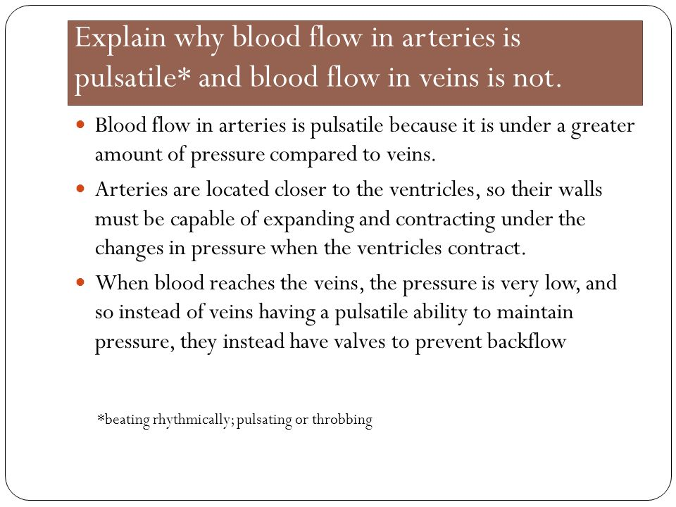 Explain why blood flow in arteries is pulsatile* and blood flow in veins is not. Blood flow in arteries is pulsatile because it is under a greater amo
