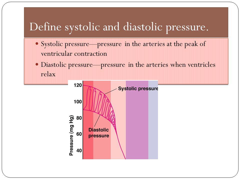 Define systolic and diastolic pressure. Systolic pressure—pressure in the arteries at the peak of ventricular contraction Diastolic pressure—pressure