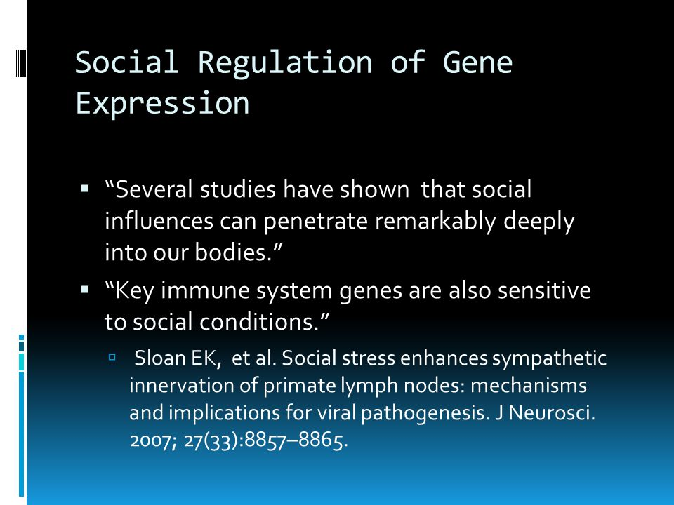 Social Regulation of Gene Expression  Several studies have shown that social influences can penetrate remarkably deeply into our bodies.  Key immune system genes are also sensitive to social conditions.  Sloan EK, et al.