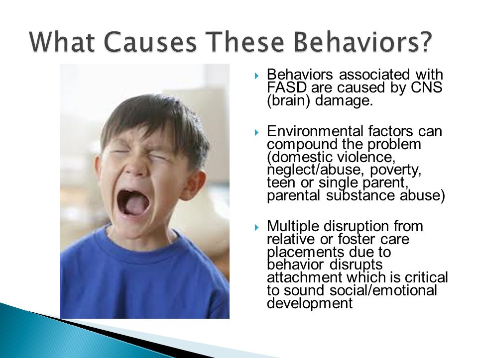  Behaviors associated with FASD are caused by CNS (brain) damage.