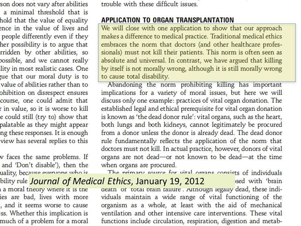 Journal of Medical Ethics, January 19, 2012