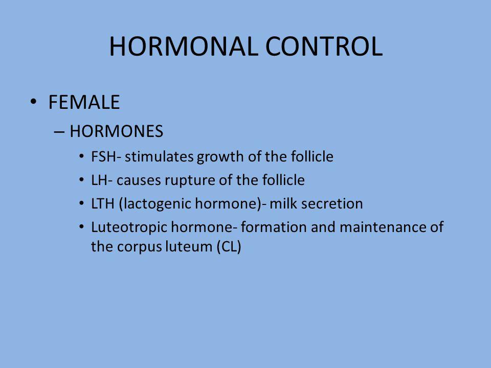 HORMONAL CONTROL FEMALE – HORMONES FSH- stimulates growth of the follicle LH- causes rupture of the follicle LTH (lactogenic hormone)- milk secretion