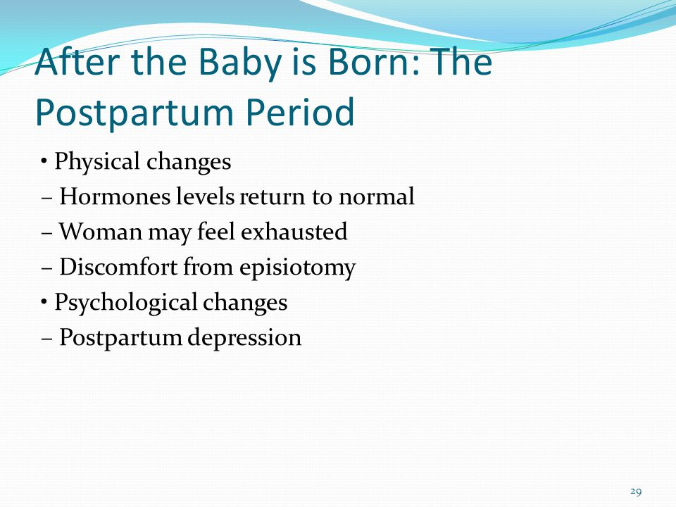 After the Baby is Born: The Postpartum Period Physical changes – Hormones levels return to normal – Woman may feel exhausted – Discomfort from episiot
