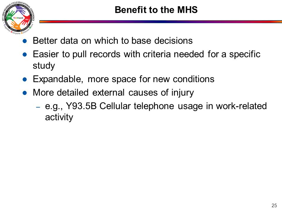 Benefit to the MHS Better data on which to base decisions Easier to pull records with criteria needed for a specific study Expandable, more space for new conditions More detailed external causes of injury – e.g., Y93.5B Cellular telephone usage in work-related activity 25