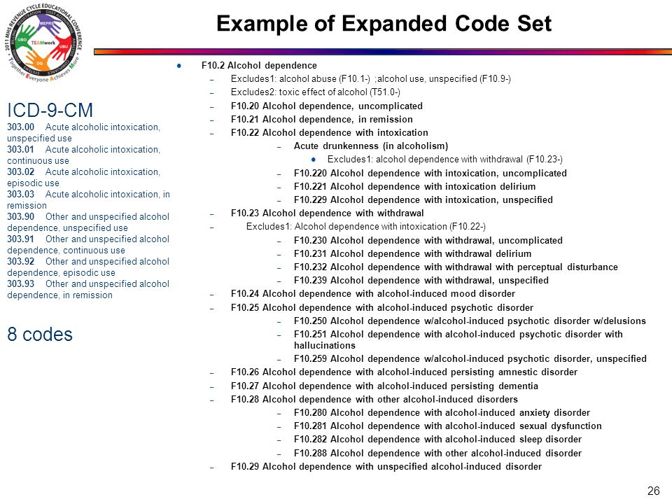 Example of Expanded Code Set F10.2 Alcohol dependence – Excludes1: alcohol abuse (F10.1-) ;alcohol use, unspecified (F10.9-) – Excludes2: toxic effect of alcohol (T51.0-) – F10.20 Alcohol dependence, uncomplicated – F10.21 Alcohol dependence, in remission – F10.22 Alcohol dependence with intoxication – Acute drunkenness (in alcoholism) Excludes1: alcohol dependence with withdrawal (F10.23-) – F10.220 Alcohol dependence with intoxication, uncomplicated – F10.221 Alcohol dependence with intoxication delirium – F10.229 Alcohol dependence with intoxication, unspecified – F10.23 Alcohol dependence with withdrawal – Excludes1: Alcohol dependence with intoxication (F10.22-) – F10.230 Alcohol dependence with withdrawal, uncomplicated – F10.231 Alcohol dependence with withdrawal delirium – F10.232 Alcohol dependence with withdrawal with perceptual disturbance – F10.239 Alcohol dependence with withdrawal, unspecified – F10.24 Alcohol dependence with alcohol-induced mood disorder – F10.25 Alcohol dependence with alcohol-induced psychotic disorder – F10.250 Alcohol dependence w/alcohol-induced psychotic disorder w/delusions – F10.251 Alcohol dependence with alcohol-induced psychotic disorder with hallucinations – F10.259 Alcohol dependence w/alcohol-induced psychotic disorder, unspecified – F10.26 Alcohol dependence with alcohol-induced persisting amnestic disorder – F10.27 Alcohol dependence with alcohol-induced persisting dementia – F10.28 Alcohol dependence with other alcohol-induced disorders – F10.280 Alcohol dependence with alcohol-induced anxiety disorder – F10.281 Alcohol dependence with alcohol-induced sexual dysfunction – F10.282 Alcohol dependence with alcohol-induced sleep disorder – F10.288 Alcohol dependence with other alcohol-induced disorder – F10.29 Alcohol dependence with unspecified alcohol-induced disorder 26 ICD-9-CM 303.00 Acute alcoholic intoxication, unspecified use 303.01 Acute alcoholic intoxication, continuous use 303.02 Acute alcoholic intoxication, episodic use 303.03 Acute alcoholic intoxication, in remission 303.90 Other and unspecified alcohol dependence, unspecified use 303.91 Other and unspecified alcohol dependence, continuous use 303.92 Other and unspecified alcohol dependence, episodic use 303.93 Other and unspecified alcohol dependence, in remission 8 codes