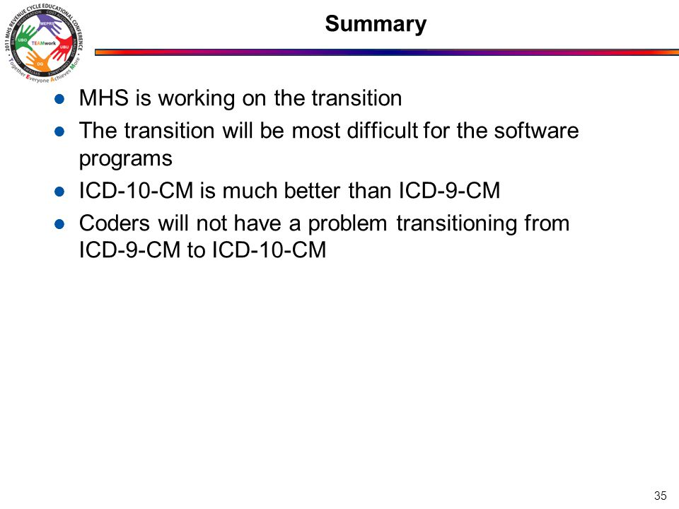Summary MHS is working on the transition The transition will be most difficult for the software programs ICD-10-CM is much better than ICD-9-CM Coders will not have a problem transitioning from ICD-9-CM to ICD-10-CM 35