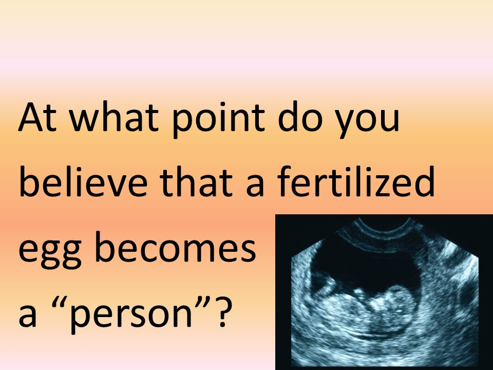 At what point do you believe that a fertilized egg becomes a person ?