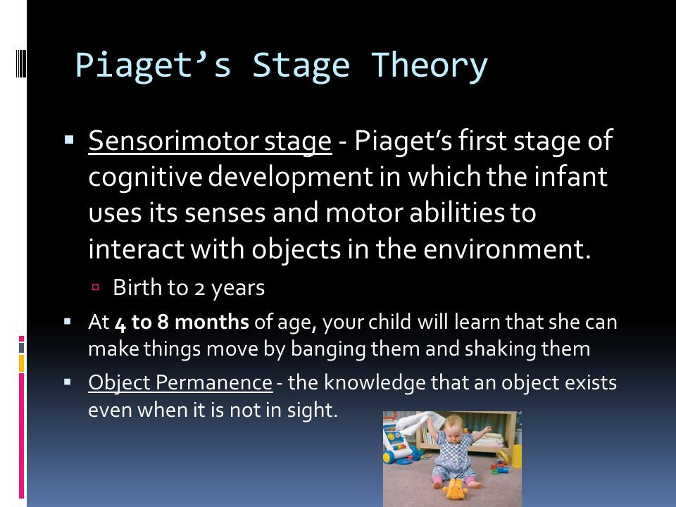 Piaget's Stage Theory  Sensorimotor stage - Piaget's first stage of cognitive development in which the infant uses its senses and motor abilities to