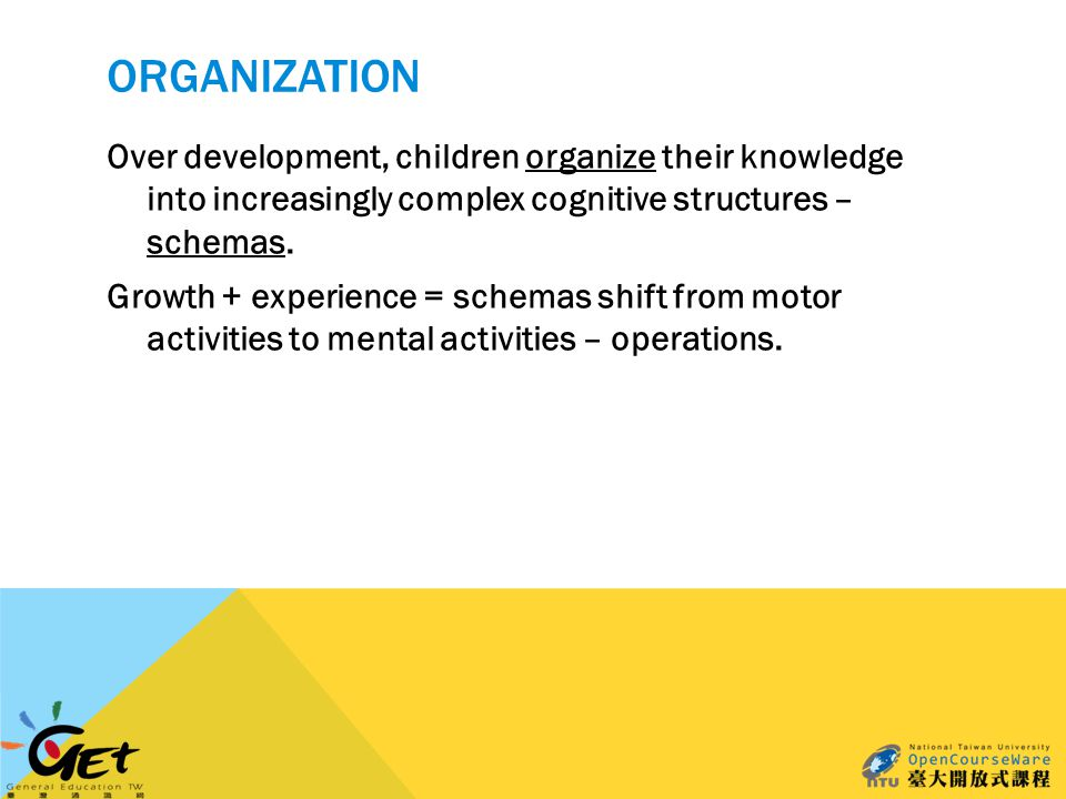 ORGANIZATION Over development, children organize their knowledge into increasingly complex cognitive structures – schemas.