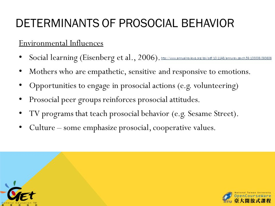 DETERMINANTS OF PROSOCIAL BEHAVIOR Environmental Influences Social learning (Eisenberg et al., 2006).