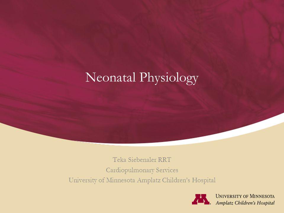 Neonatal Physiology Teka Siebenaler RRT Cardiopulmonary Services University of Minnesota Amplatz Children's Hospital