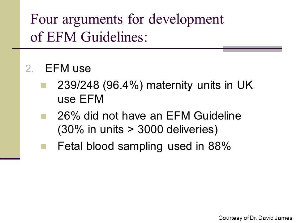 2. EFM use 239/248 (96.4%) maternity units in UK use EFM 26% did not have an EFM Guideline (30% in units > 3000 deliveries) Fetal blood sampling used