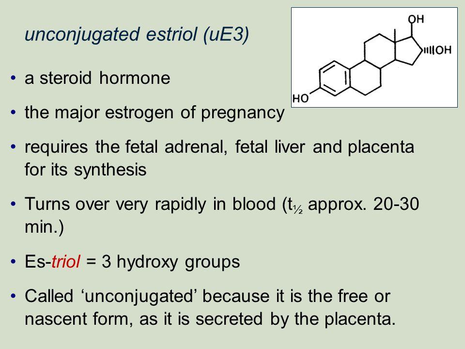 unconjugated estriol (uE3) a steroid hormone the major estrogen of pregnancy requires the fetal adrenal, fetal liver and placenta for its synthesis Tu