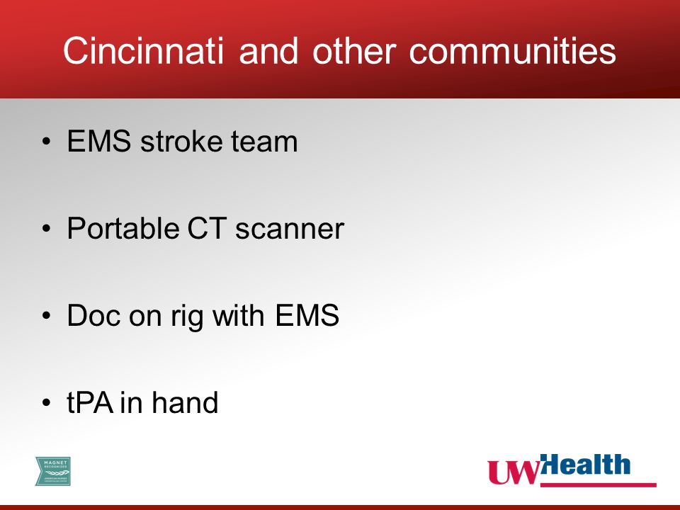 EMS stroke team Portable CT scanner Doc on rig with EMS tPA in hand Cincinnati and other communities