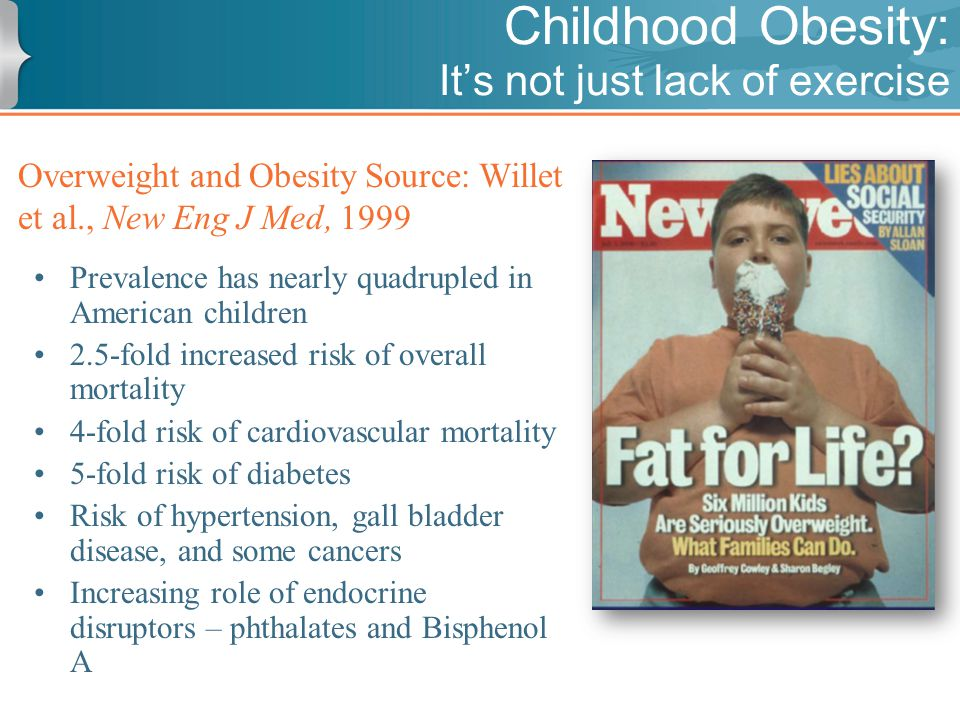 Childhood Obesity: It's not just lack of exercise Overweight and Obesity Source: Willet et al., New Eng J Med, 1999 Prevalence has nearly quadrupled in American children 2.5-fold increased risk of overall mortality 4-fold risk of cardiovascular mortality 5-fold risk of diabetes Risk of hypertension, gall bladder disease, and some cancers Increasing role of endocrine disruptors – phthalates and Bisphenol A