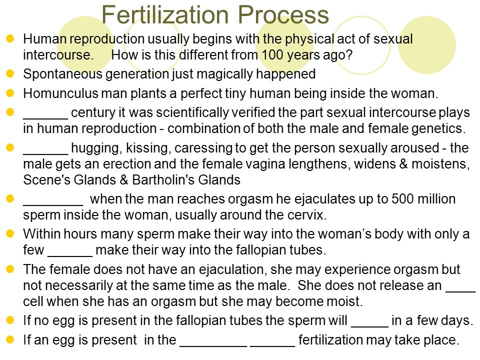 Fertilization Process Human reproduction usually begins with the physical act of sexual intercourse. How is this different from 100 years ago? Spontan