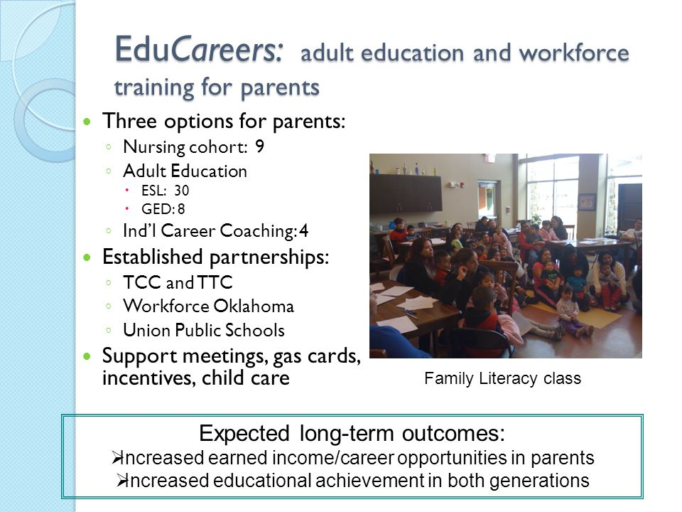 EduCareers: adult education and workforce training for parents Three options for parents: ◦ Nursing cohort: 9 ◦ Adult Education  ESL: 30  GED: 8 ◦ Ind'l Career Coaching: 4 Established partnerships: ◦ TCC and TTC ◦ Workforce Oklahoma ◦ Union Public Schools Support meetings, gas cards, incentives, child care Expected long-term outcomes:  Increased earned income/career opportunities in parents  Increased educational achievement in both generations Family Literacy class