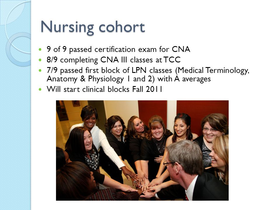 Nursing cohort 9 of 9 passed certification exam for CNA 8/9 completing CNA III classes at TCC 7/9 passed first block of LPN classes (Medical Terminology, Anatomy & Physiology 1 and 2) with A averages Will start clinical blocks Fall 2011