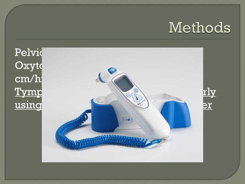 Pelvic Exams Q2H Oxytocin augmentation if dilation <1 cm/hr Tympanic temperature measured hourly using Genius® Tympanic Thermometer