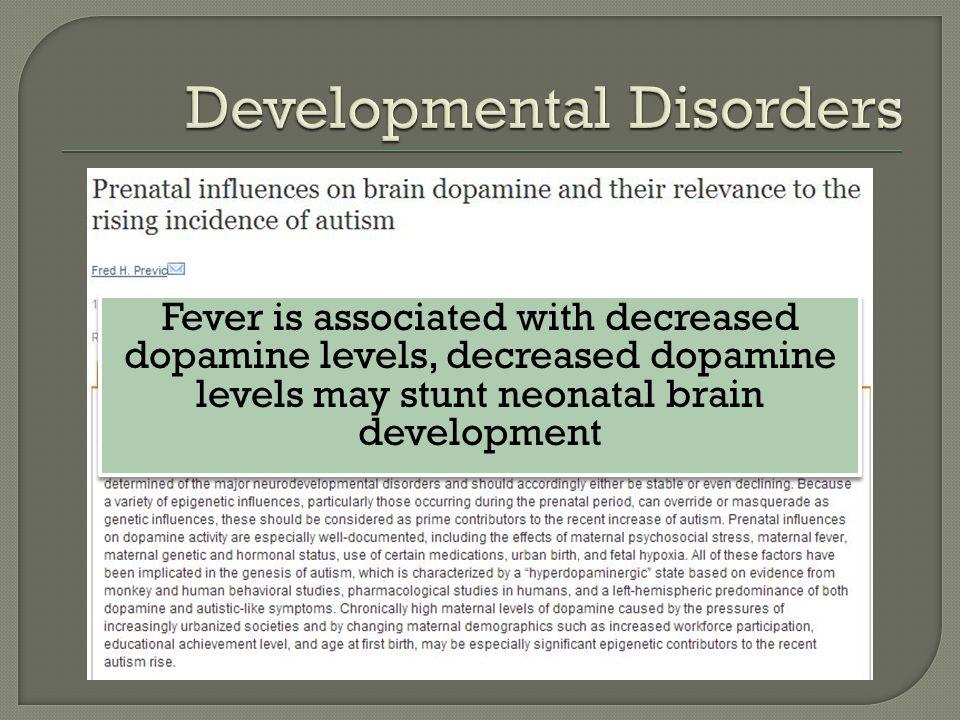 Fever is associated with decreased dopamine levels, decreased dopamine levels may stunt neonatal brain development