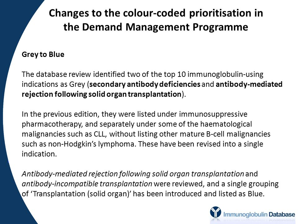 Changes to the colour-coded prioritisation in the Demand Management Programme Grey to Blue The database review identified two of the top 10 immunoglobulin-using indications as Grey (secondary antibody deficiencies and antibody-mediated rejection following solid organ transplantation).