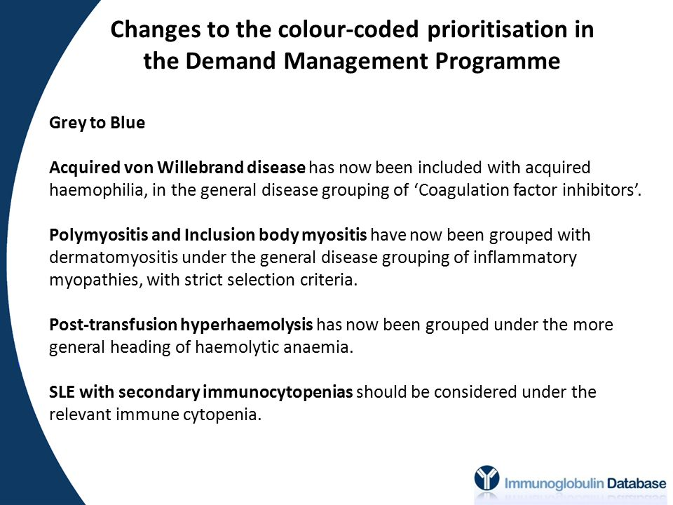 Changes to the colour-coded prioritisation in the Demand Management Programme Grey to Blue Acquired von Willebrand disease has now been included with acquired haemophilia, in the general disease grouping of 'Coagulation factor inhibitors'.