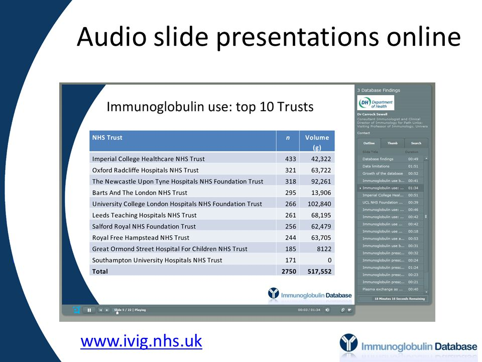 Audio slide presentations online www.ivig.nhs.uk