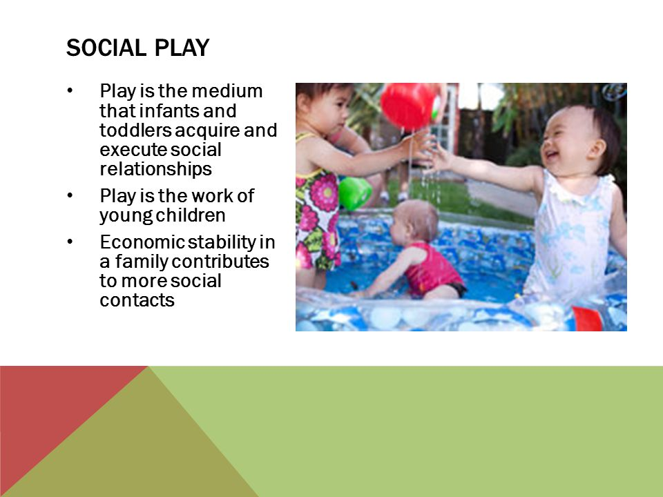 Play is the medium that infants and toddlers acquire and execute social relationships Play is the work of young children Economic stability in a famil