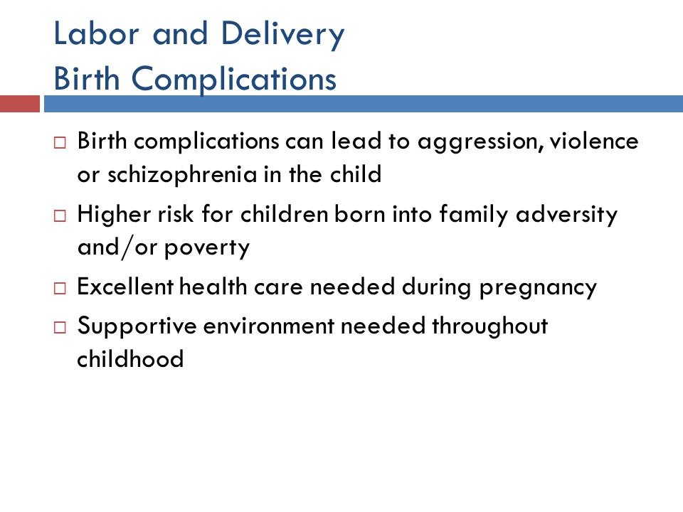 Labor and Delivery Birth Complications  Birth complications can lead to aggression, violence or schizophrenia in the child  Higher risk for children
