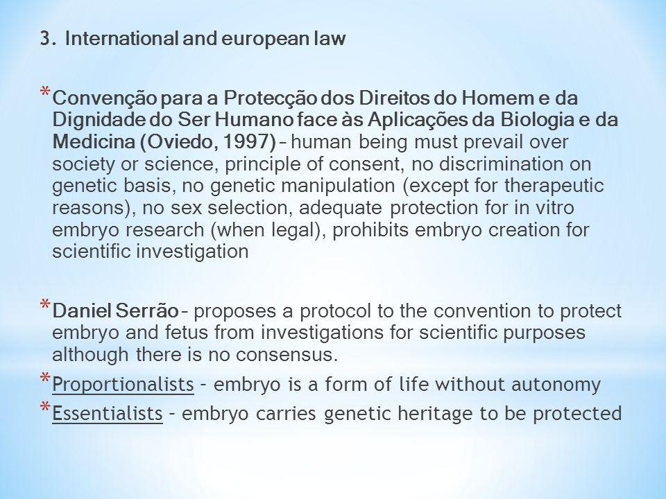 3. International and european law * Convenção para a Protecção dos Direitos do Homem e da Dignidade do Ser Humano face às Aplicações da Biologia e da