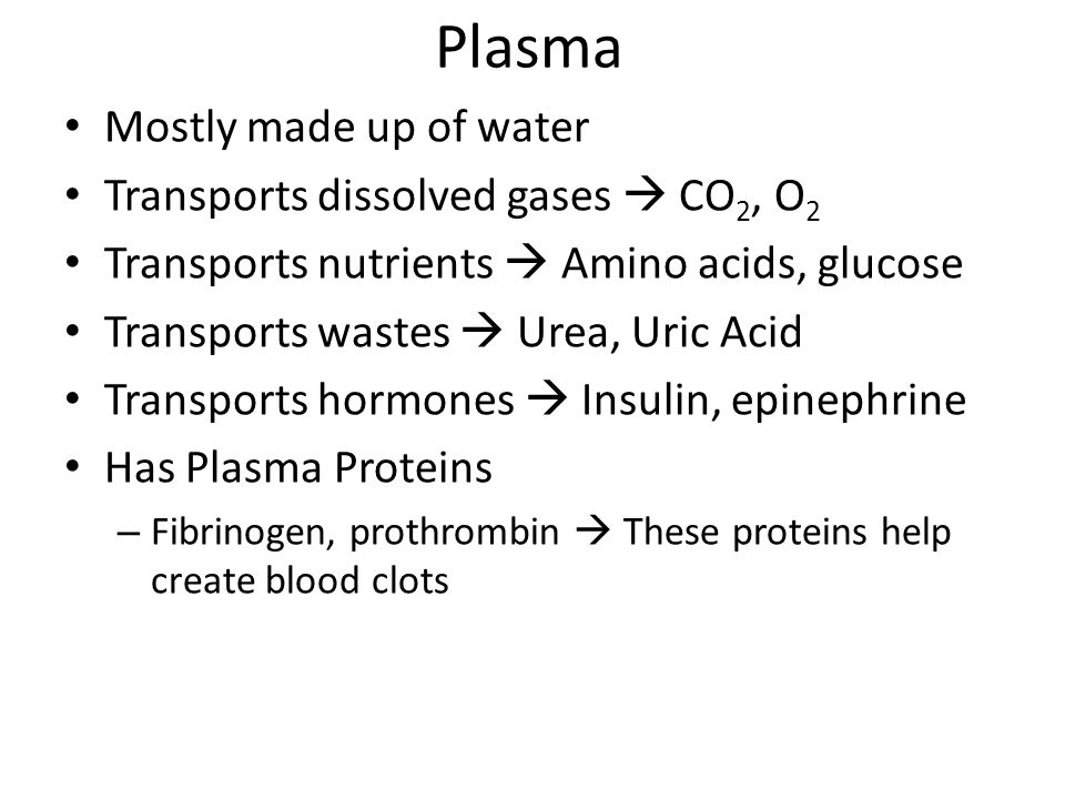 Plasma Mostly made up of water Transports dissolved gases  CO 2, O 2 Transports nutrients  Amino acids, glucose Transports wastes  Urea, Uric Acid Transports hormones  Insulin, epinephrine Has Plasma Proteins – Fibrinogen, prothrombin  These proteins help create blood clots