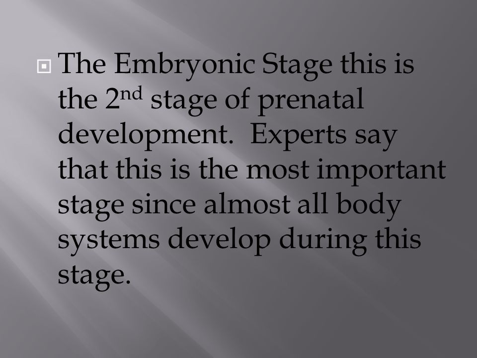  The Embryonic Stage this is the 2 nd stage of prenatal development.